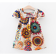 Toddler Girls' Active Daily Floral Short Sleeve Polyester Dress White