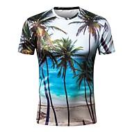 Homens Camiseta Básico Estampado, Geométrica Decote Redondo Delgado / Manga Curta
