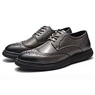 baratos Sapatos Masculinos-Homens Couro Ecológico Primavera / Outono Conforto Oxfords Preto / Cinzento Escuro
