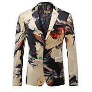 Men's Daily Spring / Fall Regular Blazer, Geometric Notch Lapel Long Sleeve Spandex Khaki XL / XXL / XXXL / Slim