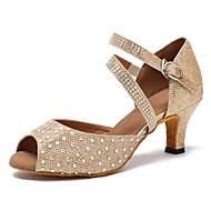 baratos Sapatilhas de Dança-Mulheres Sapatos de Dança Latina Courino Sandália / Salto Pedrarias Salto Personalizado Personalizável Sapatos de Dança Dourado