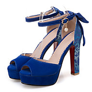 cheap Women's Sandals-Women's Shoes Nubuck leather Spring / Summer Comfort / Novelty Sandals Chunky Heel Peep Toe Bowknot / Pearl / Buckle Black / Beige / Blue