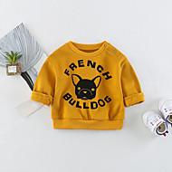 billige Hættetrøjer og sweatshirts til babyer-Baby Unisex Bluse Daglig Trykt mønster, Bomuld Spandex Forår 3/4-ærmer Langærmet Simple Aktiv Navyblå Gul