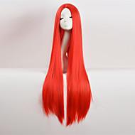 Parrucche sintetiche Liscio Stile Taglio asimmetrico Senza tappo Parrucca Rosso Viola Blu Nero Capelli sintetici Per donna Attaccatura dei capelli naturale / Riga al centro Rosso Parrucca Molto lungo