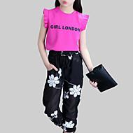 Djevojčice Dnevno Cvjetni print Komplet odjeće, Umjetna svila Poliester Ljeto Bez rukávů Aktivan Obala Fuksija