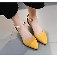 cheap Women's Heels-Women's Shoes Microfibre Spring Fall Basic Pump Comfort Heels Cone Heel for Casual Black Yellow