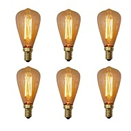 6pcs 40W E14 ST48 Branco Quente 2200-2700 K Retro Regulável Decorativa Incandescente Vintage Edison Light Bulb 220-240V V