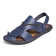 ieftine Sandale Bărbați-Bărbați Pantofi Piele Primăvară / Vară Confortabili / Tălpi cu Lumini Sandale Plimbare Negru / Albastru / Kaki