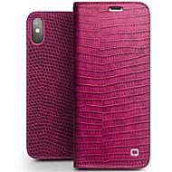 billiga Mobil cases & Skärmskydd-fodral Till Apple iPhone X / iPhone 8 Korthållare / Stötsäker / Lucka Fodral Ensfärgat Hårt Äkta Läder för iPhone X