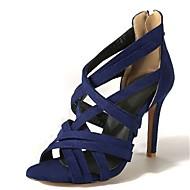 cheap Women's Sandals-Women's Shoes Velvet Summer Novelty / Gladiator Sandals Stiletto Heel Peep Toe / Open Toe Black / Red / Blue / Party & Evening