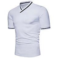 Bomull V-hals T-skjorte Herre - Ensfarget, Jacquard Hvit XL / Kortermet / Sommer