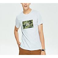 男性用 Tシャツ ラウンドネック レタード カモフラージュ コットン