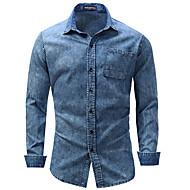 Herre - Ensfarvet, Denimstof Forretning Weekend Skjorte Bomuld