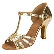baratos Sapatilhas de Dança-Mulheres Sapatos de Dança Latina Couro Sintético / Tule Sandália / Salto Recortes Salto Personalizado Personalizável Sapatos de Dança