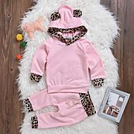 Dijete Djevojčice Pamuk Spandex Leopard Dnevno Proljeće Ljeto Dugih rukava Komplet odjeće Ulični šik Blushing Pink