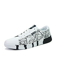 tanie Obuwie męskie-Męskie Buty PU Wiosna Jesień garbić buty Comfort Tenisówki Szurowane na Casual White Black Niebieski