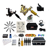 billige Tatoveringssett for nybegynnere-Tattoo Machine Profesjonell Tattoo Kit 2 x roterende tatoveringsmaskin til lining og skyggelegging Spenning Justerbar LED strømforsyning