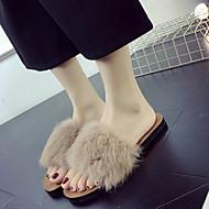 baratos Sapatos Femininos-Mulheres Couro Ecológico Outono / Inverno Conforto Chinelos e flip-flops Sem Salto Dedo Aberto Preto / Bege / Café
