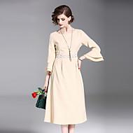 Žene Vintage Flare rukav Slim A kroj Haljina - Čipka Izbušeno Drapirano Mrežica, Jednobojni Color block U izrez Midi