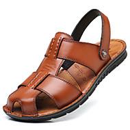 ieftine Sandale Bărbați-Bărbați Pantofi Piele Primăvară / Vară Confortabili / Tălpi cu Lumini Sandale Negru / Maro