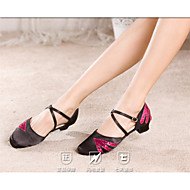 baratos Sapatilhas de Dança-Mulheres Sapatos de Dança Moderna Paetês / Cetim Salto Salto Personalizado Personalizável Sapatos de Dança Fúcsia / Preto e Dourado /