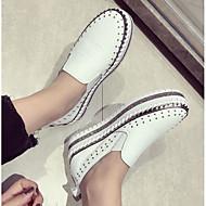 baratos Sapatos Femininos-Mulheres Sapatos Couro Ecológico Primavera Conforto Mocassins e Slip-Ons Creepers Ponta Redonda Branco