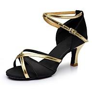 Γυναικεία Παπούτσια χορού λάτιν Σατέν / Δερματίνη Πέδιλα / Τακούνια Κόψιμο Προσαρμοσμένο τακούνι Εξατομικευμένο Παπούτσια Χορού Μαύρο