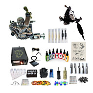 baratos Kits de Tatuagem para Iniciantes-Máquina de tatuagem Conjunto de Principiante máquinas de tatuagem com 7 x 15 ml tintas de tatuagem, Velocidades variáveis, Profissional LCD de alimentação No case