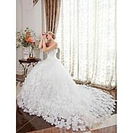 Krinolina Bez naramenica Dugi šlep Saten Til Prilagođene vjenčanice s Kristalni detalji Cvijet po LAN TING BRIDE®