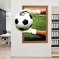 Lepicí obraz na stěnu Ozdobné samolepky na zeď - Samolepky na stěnu Fotbal 3D Nastavitelná poloha Snímatelné