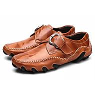 Homens Sapatos de Condução Pele Primavera / Outono Oxfords Preto / Vermelho Escuro / Castanho Claro