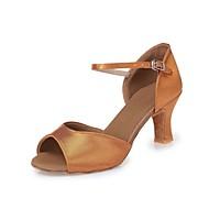 baratos Sapatilhas de Dança-Mulheres Sapatos de Dança Latina Seda Salto Cadarço de Borracha Salto Robusto Personalizável Sapatos de Dança Castanho Escuro / Couro