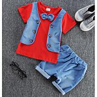 Dziecko Dla chłopców Codzienny Solidne kolory / Kolorowy blok Patchwork Długi rękaw Regularny Regularny Poliester Komplet odzieży Czerwony / Śłodkie / Brzdąc