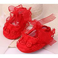 tanie Obuwie dziewczęce-Dla dziewczynek Buty Jedwab Wiosna Jesień Buty do nauki chodzenia Buty płaskie na Casual Purple Yellow Czerwony Różowy