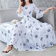 Γυναικεία Flare μανίκι Swing Φόρεμα - Φλοράλ, Στάμπα Μίντι Λαιμόκοψη V