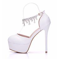 Mulheres Sapatos Couro Ecológico Primavera / Outono Plataforma Básica / Conforto Sapatos De Casamento Salto Agulha para Casamento Branco