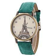 billige Quartz-Dame Quartz Modeur Kinesisk Stor urskive PU Bånd Afslappet Eiffeltårnet Sort Blåt Brun Grøn Gul