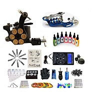 cheap Starter Tattoo Kits-Tattoo Machine Starter Kit 1 rotary machine liner & shader 1 alloy machine liner & shader Variable Speeds Adjustable LCD power supply 2 x