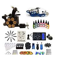 billige Tatoveringssett for nybegynnere-BaseKey Tattoo Machine Startkit - 2 pcs tattoo maskiner med 7 x 15 ml tatovering blekk, Profesjonell Legering LCD strømforsyning No case 20 W 1 x roterende tatoveringsmaskin til lining og