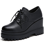cheap Women's Oxfords-Women's Shoes Cowhide Spring / Fall Comfort Oxfords Swing Shoes Creepers Black