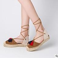 Mujer Zapatos Piel de Oveja Verano Confort Sandalias Tacón Plano Puntera abierta Blanco / Marrón Expédition Bas À Vendre l3XVFLbQ