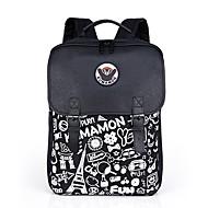 billige Skoletasker-Unisex Tasker polyester / PU rygsæk Mønster / tryk / Lynlås for udendørs Sort