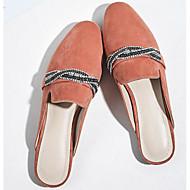 tanie Obuwie damskie-Damskie Obuwie Nubuk Wiosna Lato Comfort Chodaki i klapki Płaski obcas na Casual Black Orange Gray