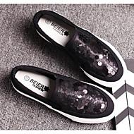baratos Mocassins Femininos-Mulheres Sapatos Paetês / Lona Primavera / Outono Conforto Mocassins e Slip-Ons Sem Salto Branco / Preto