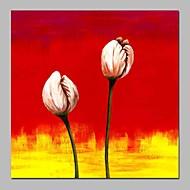 billiga Abstrakta målningar-Hang målad oljemålning HANDMÅLAD - Abstrakt Blommig / Botanisk Traditionell Duk