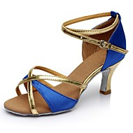 baratos Sapatilhas de Dança-Mulheres Sapatos de Dança Latina Cetim / Courino Sandália / Salto Recortes Salto Personalizado Personalizável Sapatos de Dança Azul