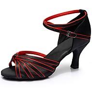 baratos Sapatilhas de Dança-Mulheres Sapatos de Dança Latina Cetim / Courino Sandália / Salto Recortes Salto Personalizado Personalizável Sapatos de Dança Marron /
