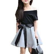 Pige Tøjsæt Daglig I-byen-tøj Ensfarvet Blomstret, Bomuld Sommer Kortærmet Sødt Aktiv Sort