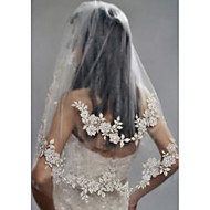 Two-tier Stylish / Pearls Wedding Veil Elbow Veils with Faux Pearl / Embroidery POLY / Drop Veil