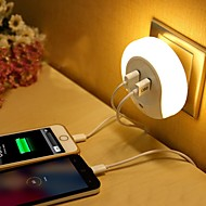 billiga Belysning-LED Night Light Varmvit Smart Dubbel USB Telefon laddare Ljusstyrning 110-120V 220V-240V